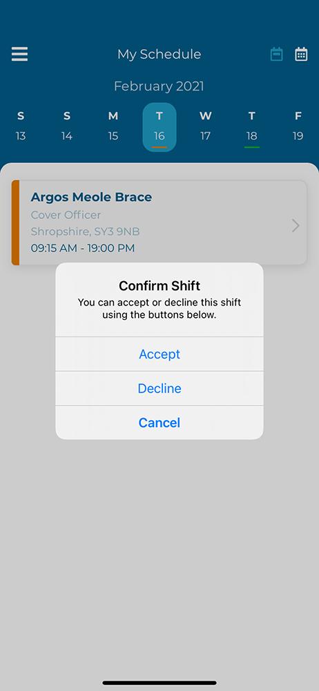 Confirm shift